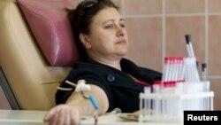 Падчас здачы крыві ў РНПЦ трансфузіялёгіі й мэдыцынскіх біятэхналёгій