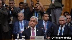 Россия - Президент Серж Саргсян принимает участие в совместном саммите БРИКС, ЕАЭС и Шанхайской организации сотрудничества, Уфа, 9 июля 2015 г.