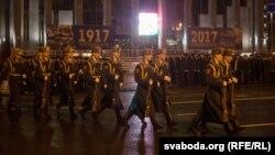 Рэпетыцыя параду да 100-годьдзя беларускай міліцыі ў Менску