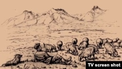 "An illustration from the film ""Uluu Pamir"" documenting the life and history of a nomadic Kyrgyz tribe."