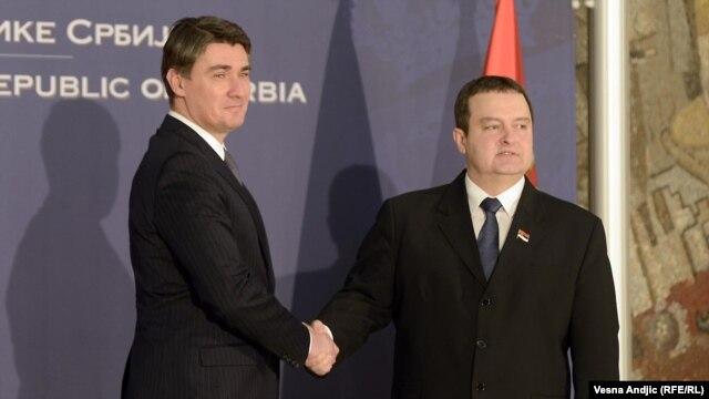 Zoran Milanović i Ivica Dačić u Beogradu, siječanj 2013.