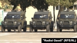 АҚШ-тың Тәжікстан қауіпсіздік күштеріне берген әскери техникалары. Душанбе, 5 қазан 2018 жыл.