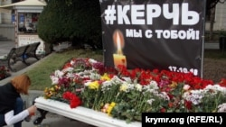 A memorial to those who died in the school shooting in Kerch, Ukraine.