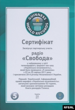 Radio Svoboda's certificate of recognition from Guiness
