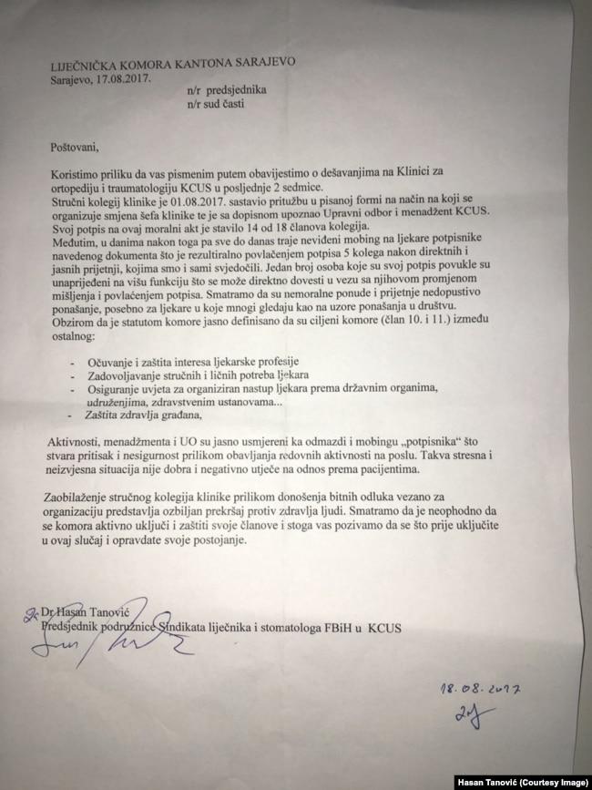 Pismo Liječničke komore Kantona Sarajevo