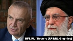 Albanian President Ilir Meta (left) issued a statement on January 8 rejecting an alleged slur on his country by his Iranian counterpart Hassan Rohani (right)