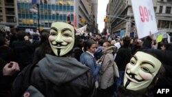 """Движение """"Захвати!"""" началось в США. Одна из акций в Нью-Йорке."""