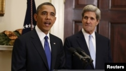 U.S. President Barack Obama (left) announces the nomination of Senator John Kerry on December 21.