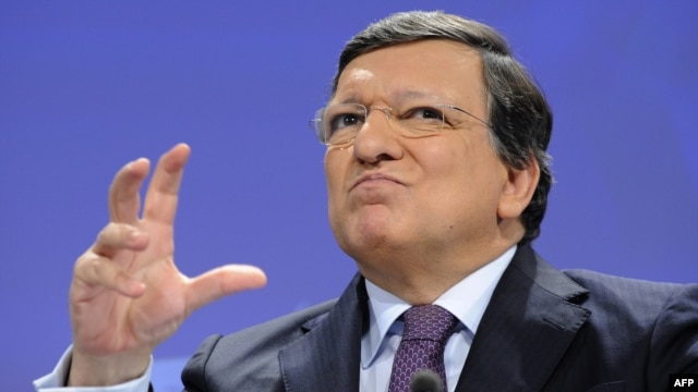 European Commission President Jose Manuel Barroso holds a press conference on a major trans-Atlantic trade initiative at EU headquarters in Brussels on February 13.