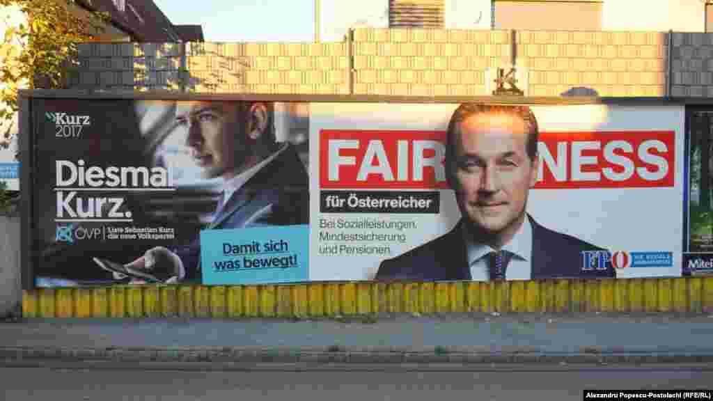 """Presa austriacă noteză că lupta politică s-ar da în special între două forțe politice. Partidul Popular Austriac, partid conservator, și Partidul Libertății din Austria (FPÖ), un partid de dreapta, al cărui lider este Heinz-Christian Strache (dreapta). Strache le promite austriecilor """"Dreptate, protecție socială și un minim de existență mai mare""""."""