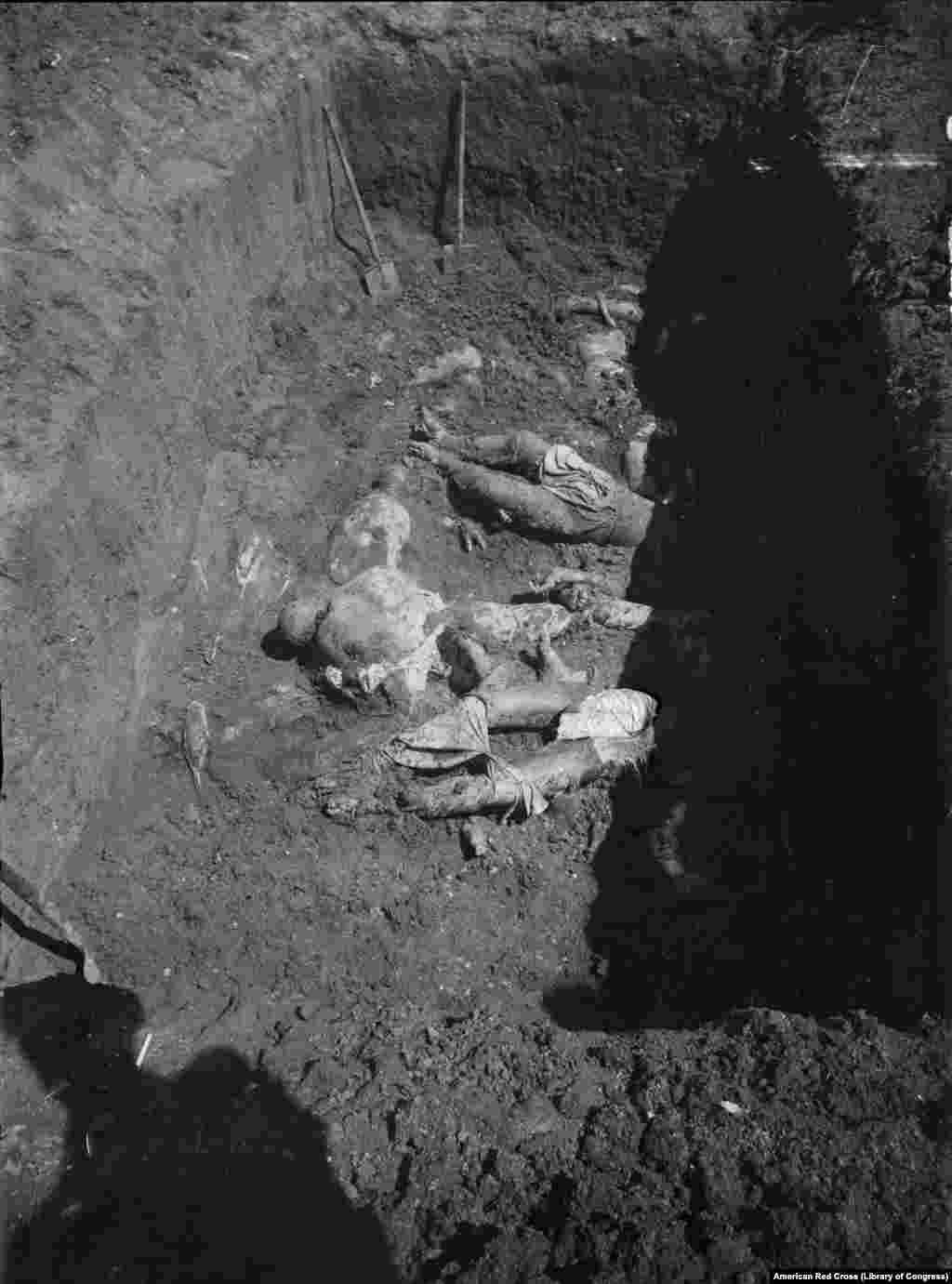 Bodies uncovered in Kharkiv in 1919 after White Army forces captured the city from the Bolsheviks. The number of people estimated killed during Russia's civil war runs into the millions.