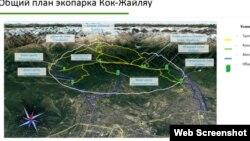 Общий план экопарка «Кок-Жайляу». Скриншот из презентации проекта.