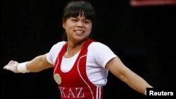 53 келі салмақта Лондон олимпиадасының чемпионы атанған қазақстандық Зүлфия Чиншанло. Лондон, 29 шілде 2012 жыл