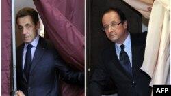 Борьба двух кандидатов продожится во втором туре выборов, результаты первого тура впервые для Франции оказались не в пользу действующего президента (Фотоколлаж: Николя Саркози и Франсуа Олланд)