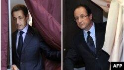 Главные претенденты на пост президента Франции - Николя Саркози (слева) и Франсуа Олланд
