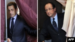 Николя Саркози (слева) и Франсуа Олланд, вышедшие во второй тур выборов президента Франции