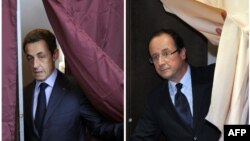 Саркози (слева) и Олланд, 22 апреля 2012 года