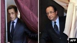 Ֆրանսիա – Համակցված նկար՝ նախագահի երկու թեկնածուները քվեախցից դուրս գալու պահին՝ Նիկոլա Սարկոզին (ձախից) եւ Ֆրանսուա Օլանդը, 22-ը ապրիլի, 2012թ․