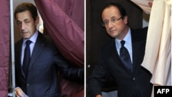 A combo photo shows President Nicolas Sarkozy (left) and Francoise Hollande voting on April 22.
