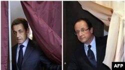 Франция президентлигига асосий даъвогарлар Николя Саркози (ч) ва Франсуа Олланд (ў).