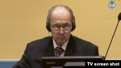 Zdravko Tolimir on trial in The Hague in October 2013