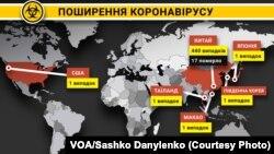 Підтверджені випадки поширення коронавірусу станом на 22 січня 2020 року (на нинішній час число відомих жертв і заражень зросло)