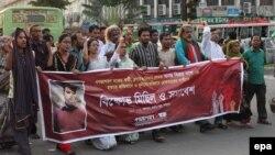 Одна из акций в Дакке против убийства блогеров, май 2015 года