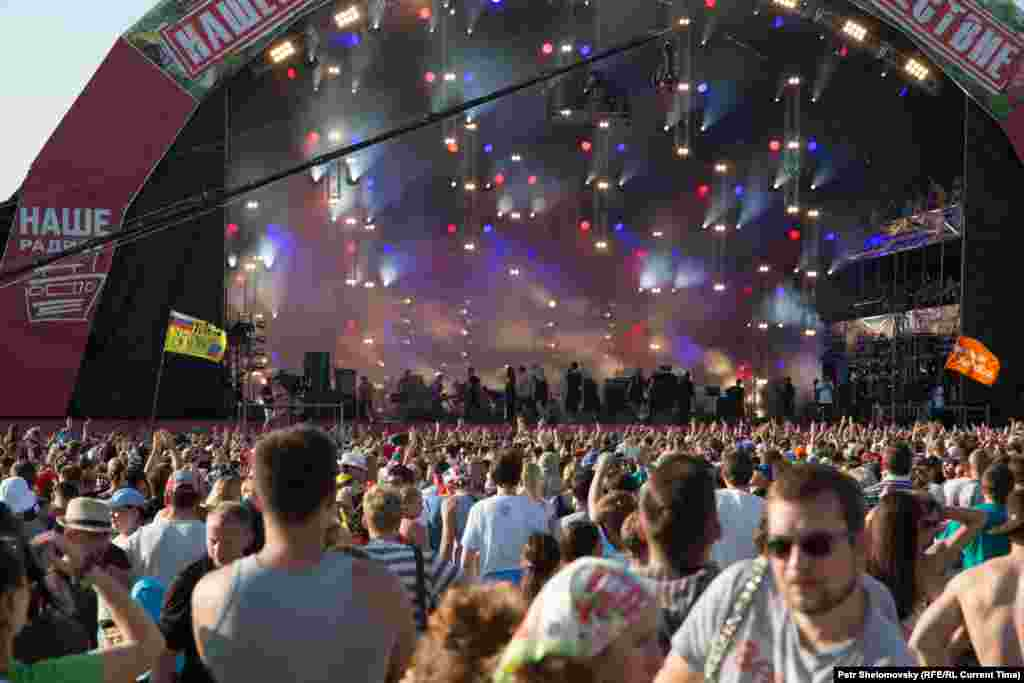 The main stage, where the biggest acts appear. Lesser-known artists perform on some of the festival's smaller stages.
