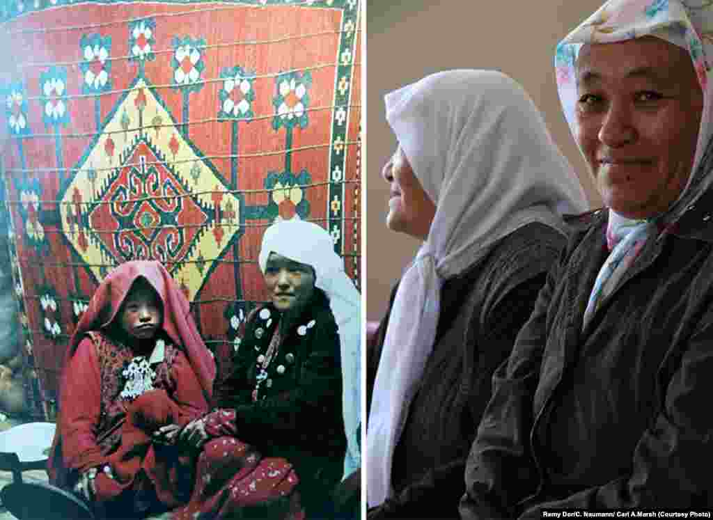 On the left, a photo of sisters Altyn and Marbet in the Pamir region in the 1970s. On the right, a photo of the sisters today in the Lake Van region of eastern Turkey. They say that in their new home, they cannot freely speak their language or wear their silver jewelry and Pamir clothes.