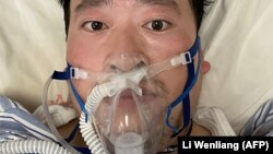 Chinese coronavirus whistle-blower Li Wenliang is shown in the hospital before his death.