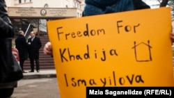 "Georgia -- ""free Khadija İsmayil"", Protest Action in Tbilisi. 10 December 2014."