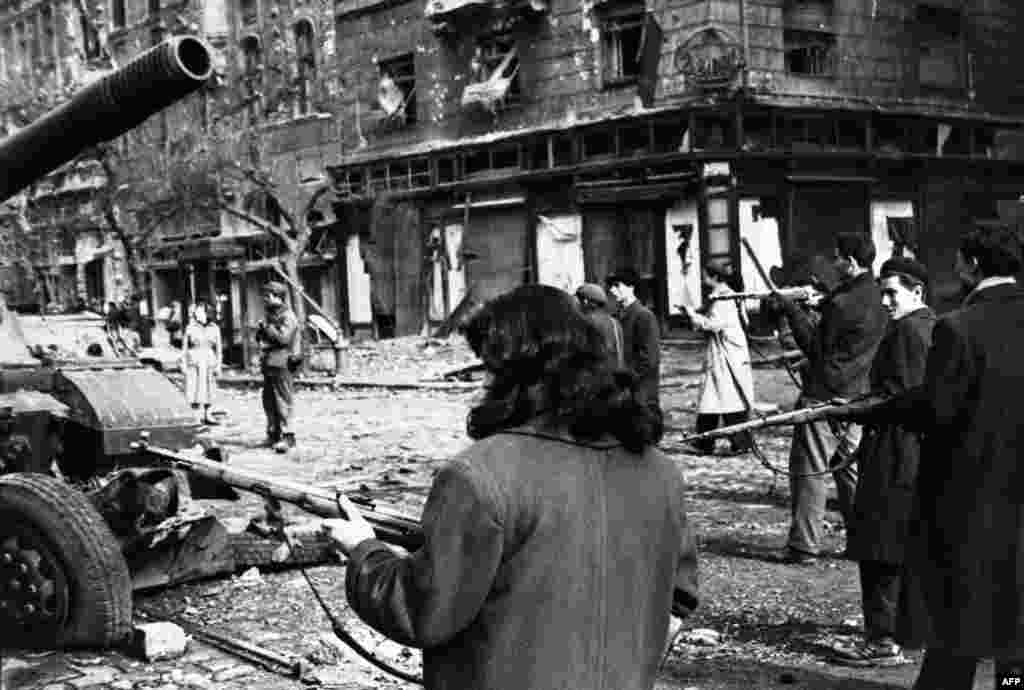A scene from the Hungarian uprising of 1956, crushed by Soviet troops under Khrushchev's orders.