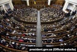 Під час виступу президента України Петра Порошенко в українському парламенті. Київ, 19 лютого 2019 року
