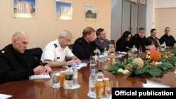 Armenia - Rear Admiral Mark Montgomery of the U.S. European Command (third from left) and other U.S. officials meet with Defense Minister Seyran Ohanian in Yerevan, 15Feb2012.