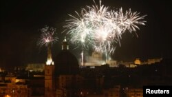 Новогодний фейерверк в Валетте, столице Мальты, 1 января 2018