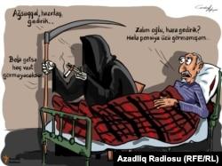 Əzrail və pensioner. Karikatura