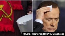 """Poslednjih godina svedoci smo turbulencija i tektonskih promena u kojima se na dramatičan način """"istorija vraća"""": Štavljanin (na slici: radnik sa protesta i Silvio Berluskoni, bivši premijer Italije)"""