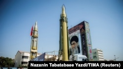 IRAN -- FILE PHOTO: A display featuring missiles and a portrait of Iran's Supreme Leader Ayatollah Ali Khamenei is seen at Baharestan Square in Tehran, Iran September 27, 2017
