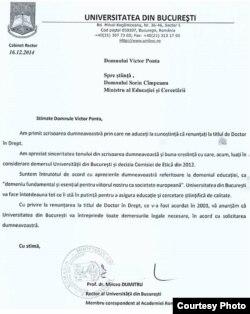 Universitatea București confirmă primirea scrisorii premierului Ponta