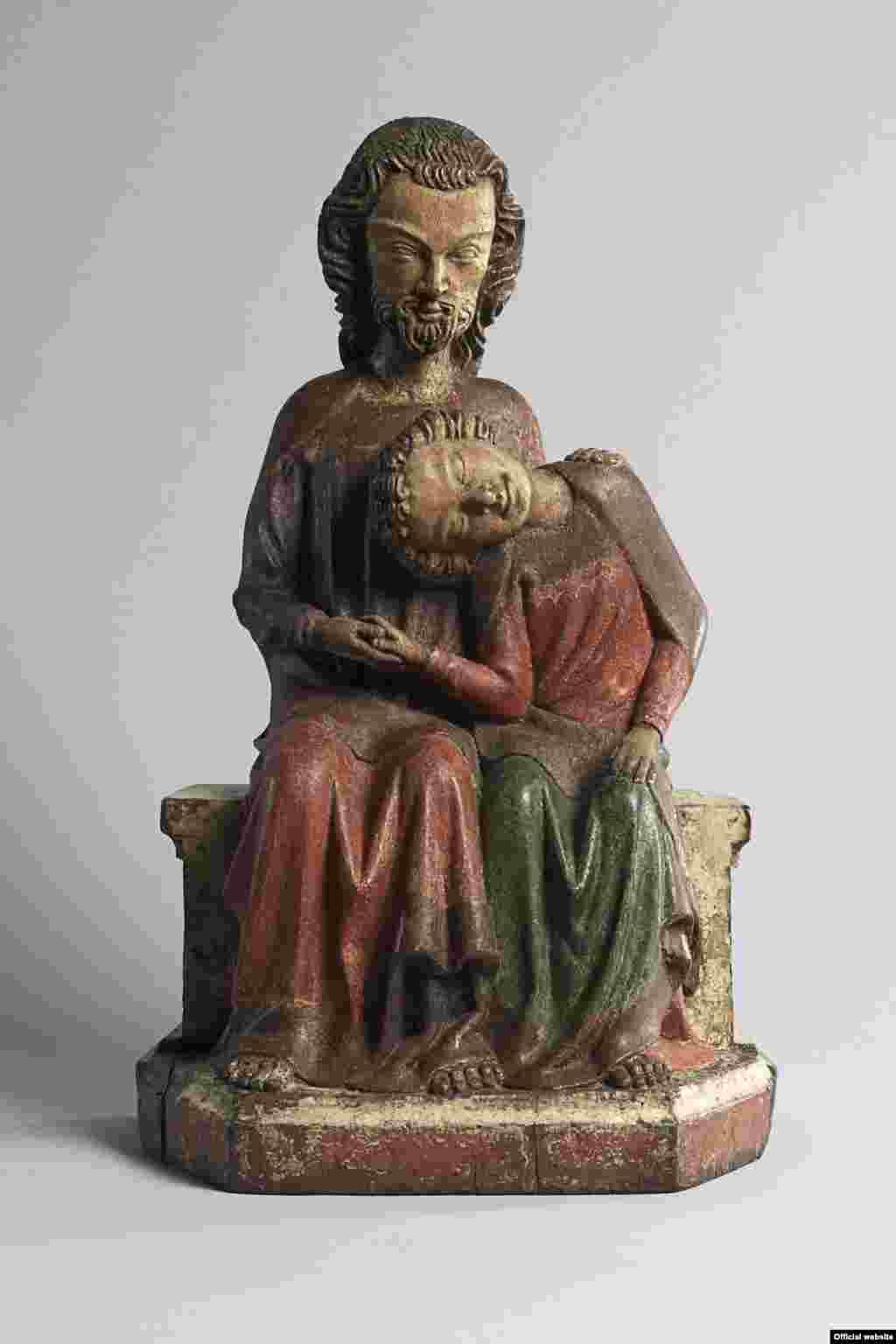 Cristos cu Sf. Ioan, din mânăstirea Adelhausen, Freiburg im Breisgau, regiunea Rinului superior sau a Lacului Constanța, cca. 1350 (Liebieghaus Skulpturensammlung, Frankfurt am Main Photo: Liebieghaus Skulpturensammlung – ARTOTHEK).