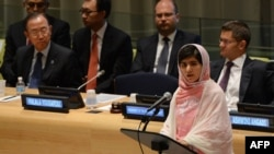 Pakistani student Malala Yousafzai (foreground) speaks before the United Nations Youth Assembly at UN headquarters in New York.