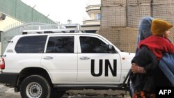 A UN vehicle in the Afghan capital, Kabul