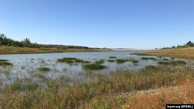 Обмелевшее Белогорское водохранилище, 24 августа 2020 года