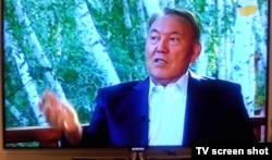"Президент Казахстана Нурсултан Назарбаев в ходе интервью телеканалу ""Хабар"". 24 августа 2014 года."