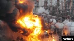 آتش سوزی در نزدیکی مخازن گاز در شهر «شیبا»