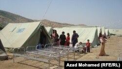 نمایی از اردوگاهی که برای کمک به آوارگان در سلیمانیه برپا شده است