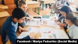 Учні школи в закарпатському селі Тур'ї Ремети на уроці німецької мови