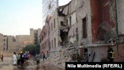 مبنى القنصلية الايطالية بعد التفجير، 11 تموز 2015