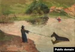 Юдаль Пэн. «Купаньне каня». 1910-я гг.
