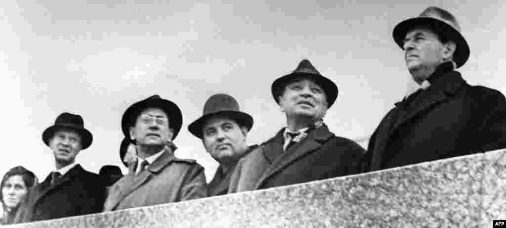 Gorbachev (third from right) at the celebration of the revolution in Stavropol, in the 1960s